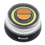 KRASER KR400V16 Luz Emergencia Coche Homologada DGT 2 en 1 con Linterna LED de Doble Intensidad y señal V16 de Gran Visibilidad, Base Imantada, Pilas AAA, Gancho Colgador, Naranja, 1 Unidad
