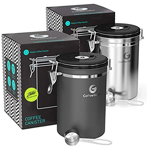 Coffee Canister - Coffee Gator Stainless Steel Coffee Container - Fresher Beans and Grounds for Longer - Date-Tracker, CO2-Release Valve and Measuring Scoop - 2-Pack, Silver/Gray