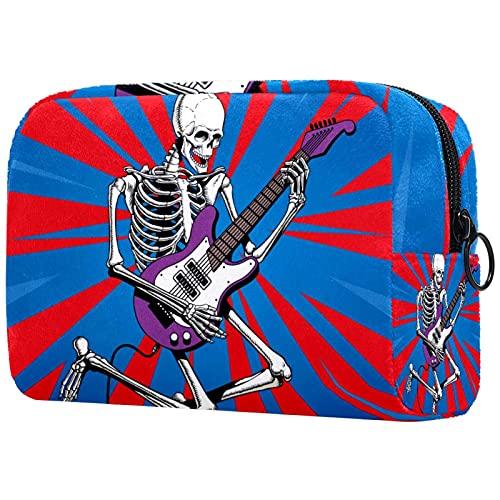 Bolsa de cosméticos y estuche portátil para llevar en viaje, neceser de maquillaje, bolsa de equipaje, organizador para hombres y mujeres, esqueleto de rock guitarristas saltos