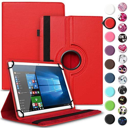UC-Express Tablet Tasche kompatibel für Wortmann Terra PAD 1004 Universal Schutzhülle aus Kunstleder Hülle Tasche Standfunktion 360° Drehbar Cover Case, Farbe:Rot