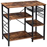 IBUYKE Industrial Kitchen Baker's Rack, Coffee Bar, Utility Storage Shelf, Microwave Oven Stand, 4-Tier+3-Tier Table for Spice Rack, Simple Assembly TMJ021H