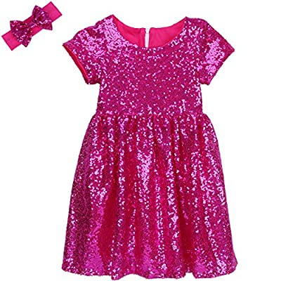Cilucu Flower Girl Dress Baby Toddlers Sequin Dress Kids Party Dress Bridesmaid Wedding Gown Birthday Dress Hot Pink 6T-7T