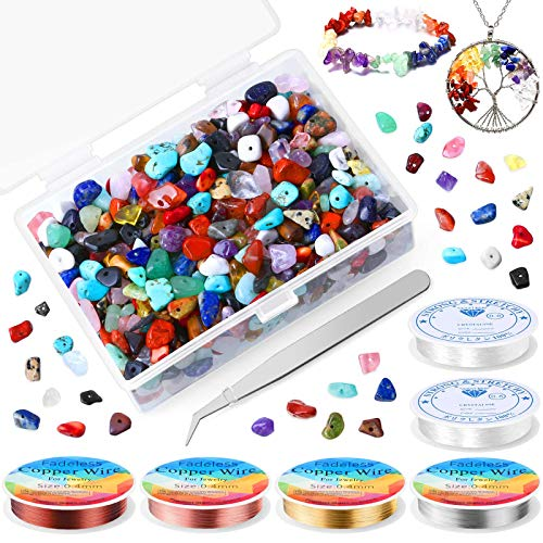 Crystal Beads, Cludoo 700pcs Chips Gemstone Beads Irregular with Jewelry Wire and Stretchy String, Natural Chips Stone Beads for Jewelry Necklace Bracelet Earring Making Supplies