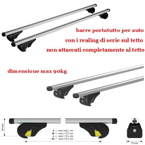Compatible con Renault Kangoo 5p 06/13>11/19 RACKF DE Techo para Coche DE Techo Barra DE Carril DE 120CM con BARANDAS Altas NO ADJUNTA Totalmente AL Rack DE Techo DE Aluminio DE 90KG