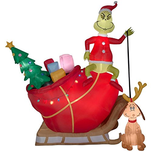 Inflatable Grinch and Max on a Sleigh With Christmas Gifts