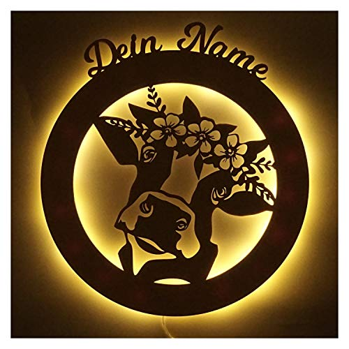 Kuh Geschenke Holz Deko Design LED Nachtlicht Lampe für Landwirte & Kuhliebhaber