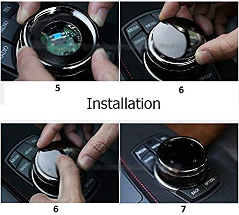 Silver 1 Set Multimedia Knob Controller Wheel Replacement Cover w//Two Different Style Button Stickers For BMW 1 3 5 Series X1 X 3 X5 X 6 iDrive