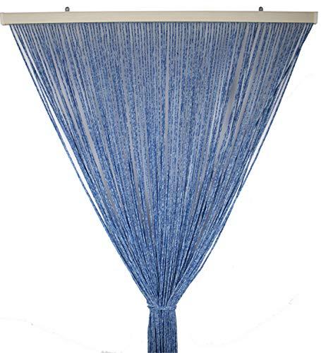 Tata Home Tenda Antimosche per Porta Finestra Moschiera a Pannello Modello Gabry in Corda di Poliestere Resistente Misura 120 x 220 cm Colore Blu