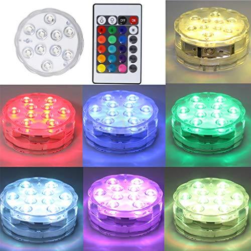 N/A. Luz sumergible, 10 luces de alto brillo, 5050 RGB, control remoto 16 modos estáticos, luces subacuáticas impermeables para decoración de jardín, piscina, 4,5 V voltaje