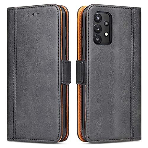 Generic Handyhülle für Samsung A32 4G Hülle, Leder Schutzhülle Samsung Galaxy A32 4G Handytasche, Klapphülle Tasche Brieftasche mit Kartenfächer & Magnetverschluss (Schwarz)