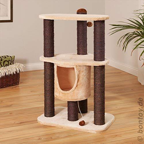 Bontoy Kratzbaum Hanna I 92cm I Creme I Stabiler Katzenkratzbaum I zum Spielen und entspannen I Katzenhaus für Jede Katze