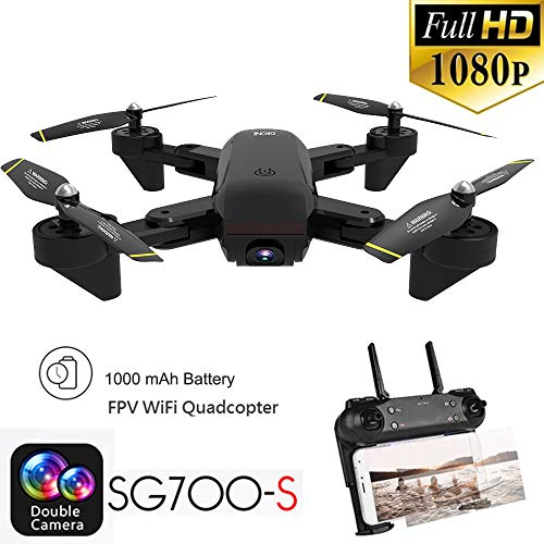 WYXlink SG700-S 2.4Ghz 4CH Wide-Angle Wifi 1080P Optical Flow Dual Camera RC Quadcopter Drone Hover (A)