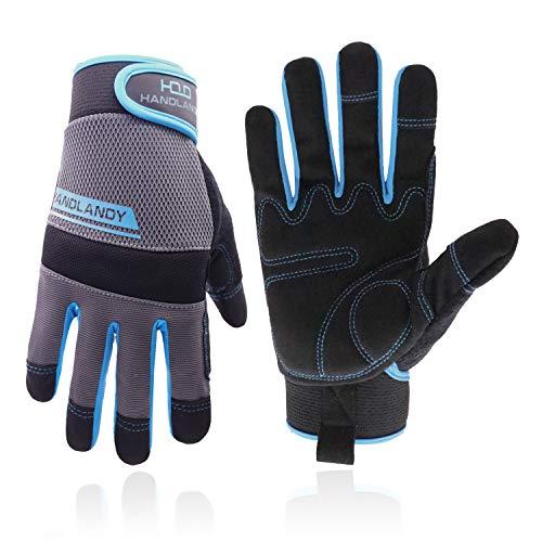 HANDLANDY Utility Arbeitshandschuhe Herren & Damen, Sicherheitshandschuhe für Mechaniker, Touchscreen, flexibel, atmungsaktiv, Yard Gloves (klein, blau)