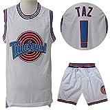 #! Jerseys de Baloncesto Taz Tune Squad, Swingman Edition Jersey Mesh Dry Dry Unisex Sin Mangas Sportswear Shorts Sets-White-M
