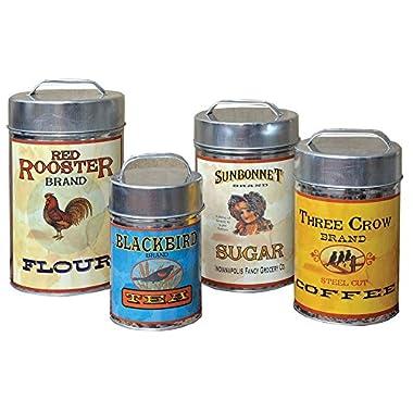 CWI Gifts Vintage Canisters Food Safe (Set of 4), 7.25 -10.25