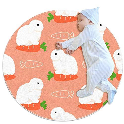 HOHOHAHA Alfombra de cocina antideslizante lavable círculo alfombra redonda alfombra de baño dormitorio niños alfombra mini francés Lop Rabbit