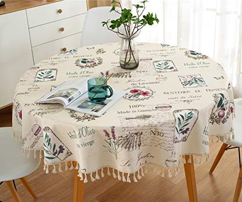 L/S Tischdecke Abwaschbar Rund 200cm Gartentisch Tischtuch Blumen Vintage Tafeldecke Wasserdicht Schmutzabweisend Lotuseffekt Leinenoptik Außen Balkon