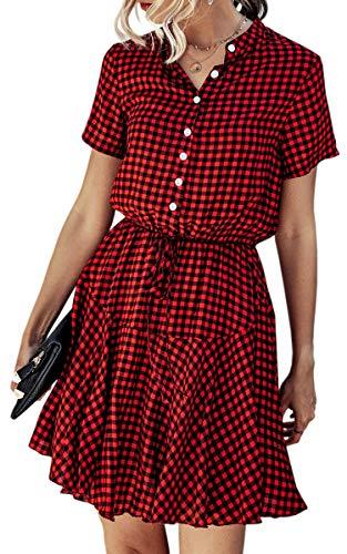 Spec4Y Damen Kleider Kurz V-Ausschnitt Knielang Sommerkleid Swing Plissee Minikleid Blumendruck Strandkleid mit Knopf 182 Rot Schwarz Small