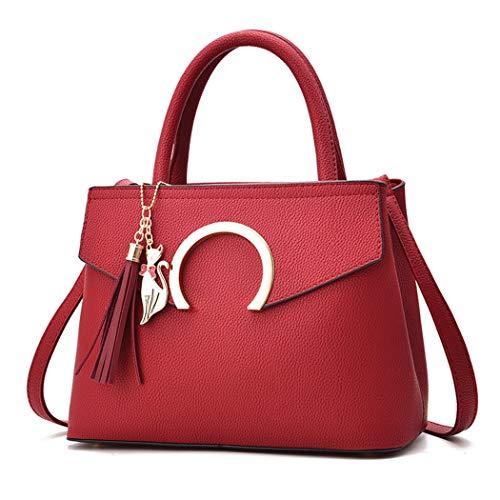 Fanspack Womens Top Handle Satchel Handbags PU Leather Crossbody Shoulder Bag Purse with Tassel Pendant
