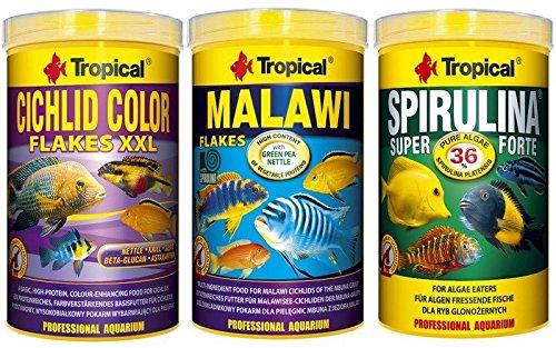 Tropical 1 Liter Spirulina Forte 36% + 1 Liter Malawi Flocken + 1 Liter Cichlid Color Flakes 3 er Set Fischfutter