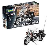 Revell 80-7915, 30,2cm Spielzeug Modellbausatz Motorrad US Police Motorbike im Maßstab 1:8, Level...