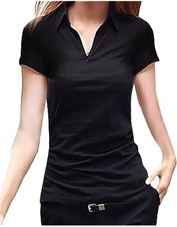 4888249a8d4bbc [ルナー ベリー] Vネック 襟付き カットソー 半袖 長袖 スリム Tシャツ レディース トップス