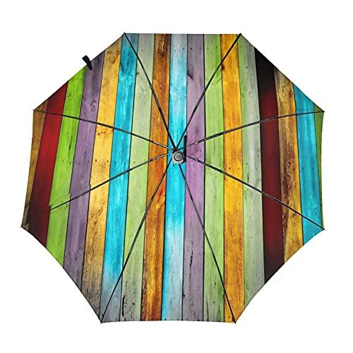 Donono Parapluie automatique à trois volets en bois coloré imprimé 3D, coupe-vent, protection UV, parapluies de pluie à lintérieur pour lextérieur