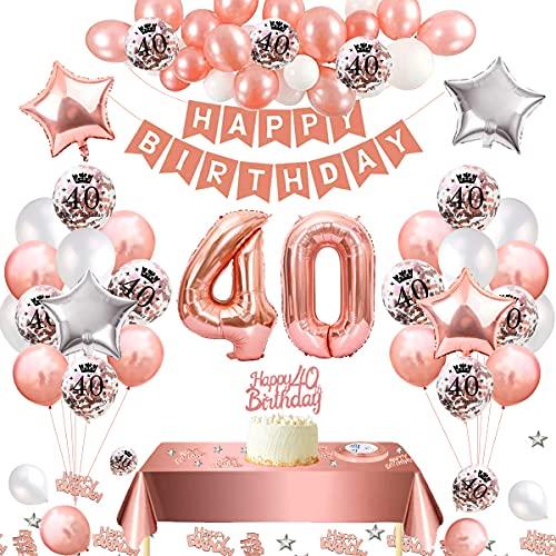 Cumpleaños Globos 40 Oro Rosa Decoración de Cumpleaños 40 con Guirnalda Banner De Cumpleaños para Fiesta, Manteles, Confetti, Globos de Látex Impresos para Niñas y Mujeres