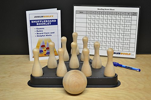 Table Shuffleboard Bowling Brown Pins - Pinsetter - Booklet - Score Chart & Wood Ball