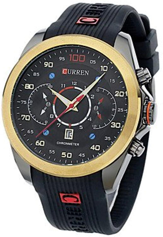 Fashion Watches Men CURREN watch Quartz Waterproof Sports Watch Calendar Genuine Rubber Wristwatch (Assorted color)