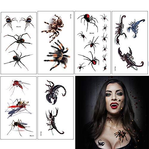 Eyscoco Halloween Tattoos, Temporäre Tattoos Kunstblut Narben Wunde Spinne Skorpion für Halloween Zombies Vampir Cosplay Carnival Party Accessoires Prop Dekorationen Aufkleber (3D Spinne)