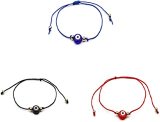 Hamsa Evil Eye String Bracelet Set Crystal Charm Adjustable Kabbalah Turkish Jewish Lucky Amulet Jewelry for Women Men Girls Boys
