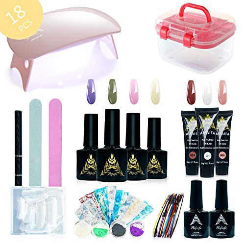 Poly Gel Nail Design Kit, AIFAIFA All-in-One Nail Art Kit with Extension Gel, Gel Nail Polish for Starter, 3 Colors Poly Gel,4 Gel Polish, Base Coat Top Coat Set, Nail Foil Strip, Buffer, Glitter