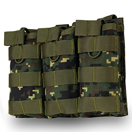 Triple Mag Pouch for M4 M16 AR15 HK416 Mag Holder Open-Top Military Airsoft Magazine Pouch Tactical Backpack Vest Molle Accessories (Digital Camo) -  WST, WoSporT-MG-13-Camo-DW