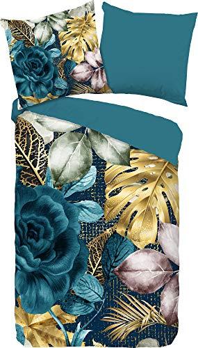 Good Morning! Lidy - Juego de cama reversible (155 x 220 cm, 80 x 80 cm), color azul