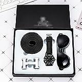 XYZMDJ 3 unids/Set Conjunto de Regalo Boutique cinturón + Reloj de Cuarzo + Gafas Los Regalos Son una Buena opción Reloj para Hombre Relojes Informales de Moda Cuero (Color : Black)
