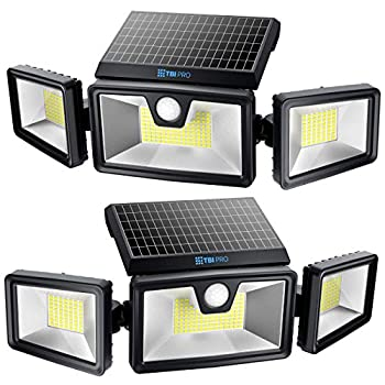 TBI Security Solar Lights Outdoor 216 LED 2200LM 6500K - Extra-Wide Adjustable 360° 3 Heads with 3 Modes,Wireless Motion Sensor 40ft - Waterproof IP65 Spot Flood Lights Solar Powered 2200mah 2 Pack