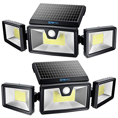 TBI Security Solar Lights Outdoor 216 LEDs 2200LM, 6500K, 7W - Extra-Wide Adjustable 360° 3 Heads with 3 Modes, Wireless Motion Sensor 40ft - Waterproof IP65 Spot Flood Lights Solar Powered 2200mah