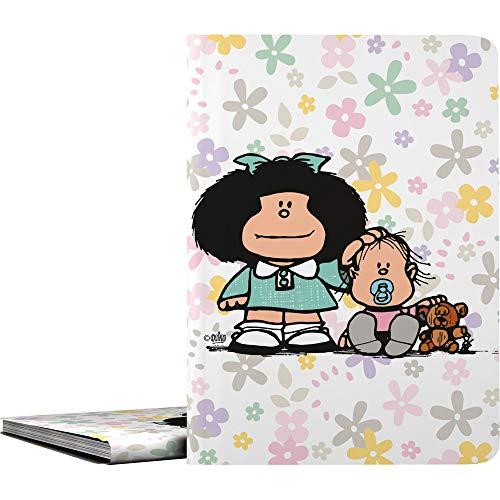 Mafalda 1332411. Carpeta de 30 Fundas Transparentes, Tamaño A4, Cubiertas Polipropileno, Modelo Flores