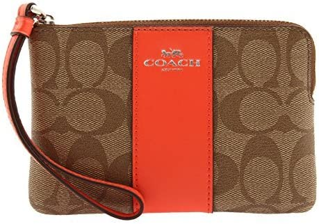 COACH Corner Zip Wristlet In Signature Coated Canvas With Leather Stripe, F58035