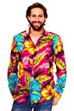 Funky Camisa Hawaiana, LS Big Flower, rosa, 4XL