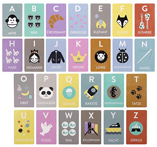 Kindsgut Lernspiel Buchstaben aus Holz, spielerisch das Alphabet Lernen, Schlichtes Design und dezente Farben, ideal für unterwegs und als Geschenk, ABC Kinderspiel