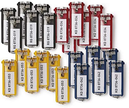 Durable 194927 Schlüsselanhänger Key Clip, einfach aufklappen & beschriften, 72 Stück, farbig sortiert