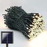 NEXVIN Solar Lichterkette Außen, 20M 200 LED Solar Lichterkette Aussen Wasserdichte, 8 Modi Solar Lichterkette Warmweiß für Garten, Terrasse, Balkon Deko