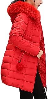 Women's Winter Warm Parkas Coat with Fur Collar Hooded Slim Overcoat