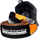 GearAmerica Recovery Tow Strap 4' x 30' | Ultra Heavy Duty 45000 lbs (22.5 US Tons) Strength | Triple Reinforced Loops + Protective Sleeves | Emergency Truck Towing | Free Storage Bag + Strap