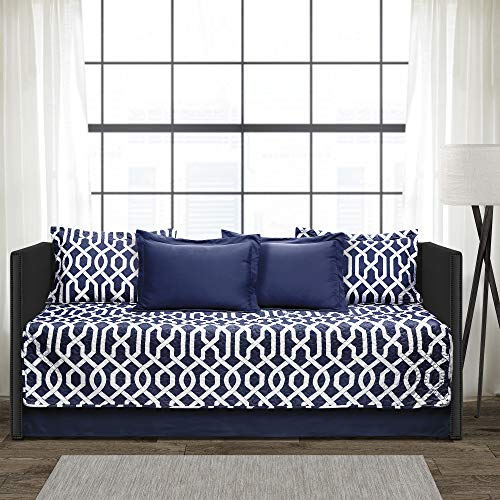 Lush Decor Navy and White Edward Trellis Patterned 6 Piece Daybed Cover Set Includes Bed Skirt, Pillow Shams and Cases, 75' X 39'