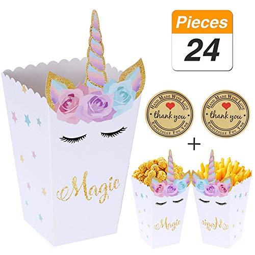 YANGTE 24 Piezas de Palomitas de maíz Caja de bocadillos Arco Iris patrón Unicornio Caja de meriendas Palomitas de maíz Baby Shower Fiesta de cumpleaños Suministros