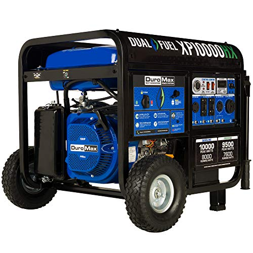 DuroMax XP10000HX Dual Fuel Portable Generator-10000 Watt Gas or Propane Powered Electric Start w/CO Alert, 50 State Approved, Blue