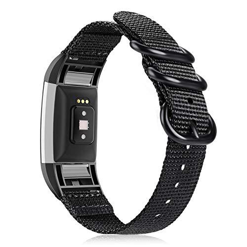 Fintie Armband kompatibel mit Fitbit Charge 2 / Charge 2 Special Edition - Nylon atmungsaktive Uhrenarmband Sport Armband verstellbares Ersatzband mit Edelstahlschnallen, Schwarz